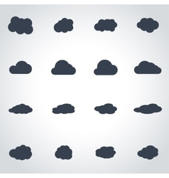 black cloud icon set vector image vector image