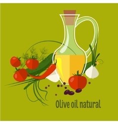 Carafe with olive oil isolated on background vector