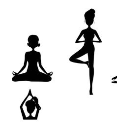 Cartoon girl in yoga postures vector