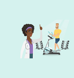 Caucasian man exercising on elliptical trainer vector