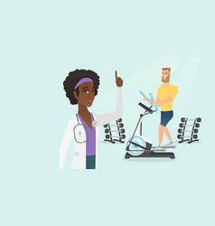 Caucasian man exercising on elliptical trainer vector