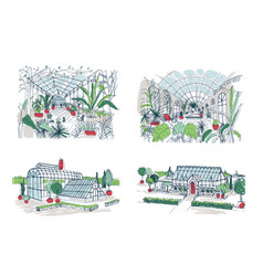 Collection of sketches of large greenhouses full vector