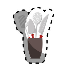 color silhouette sticker with cutlery in recipient vector image