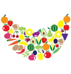 Fruits veggies smile vector