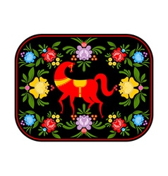 Gorodets painting red horse and floral elements vector