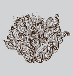 Head bush of hair doodle vector