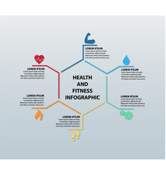 Health and fitness infographic featuring six icons vector