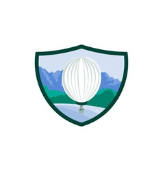 Hot air ballooning sea tree mountains crest retro vector