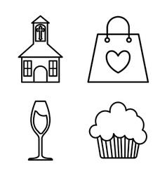 Icon set wedding marriage graphic vector
