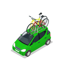 Isometric mini car with two bicycles mounted on vector