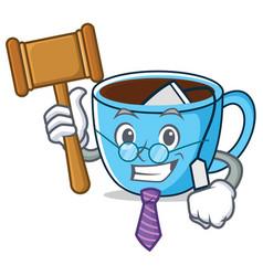 Judge tea cup mascot cartoon vector