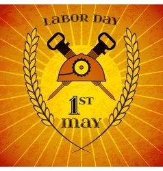May 1st labor day helmet and hammers wheat ears vector