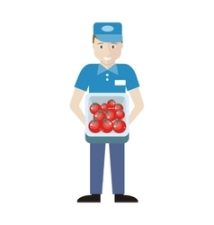 Merchandiser with tomatoes in track vector