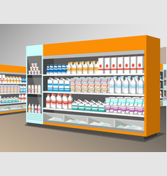 milk products shelf in the store vector image
