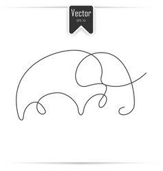 one line elephant design silhouette vector image