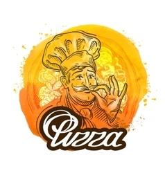 Pizza restaurant logo design template chef vector