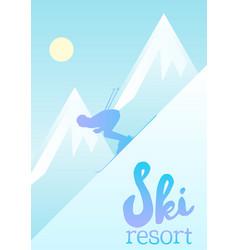 poster of a ski resort vector image vector image