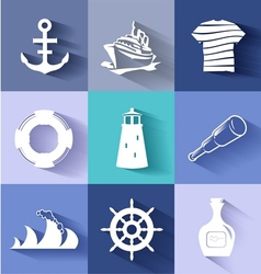 Sailor and ships flat icon set vector