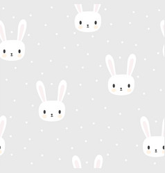 seamless pattern with cartoon bunnies for kids vector image vector image