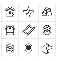Set of earthquake icons destruction vector