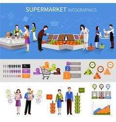 Supermarket people infographics vector