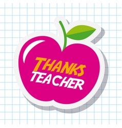 Thanks teacher card big pink apple celebration vector