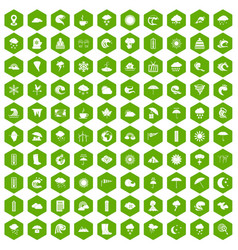 100 weather icons hexagon green vector