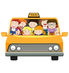 Boys and girls riding in taxi vector image