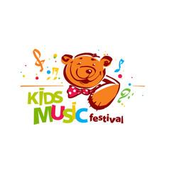Kids music festival logo vector
