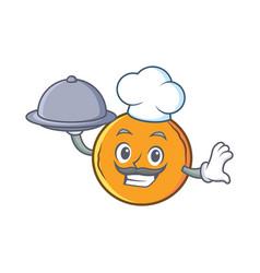 Chef with food orange fruit cartoon character vector