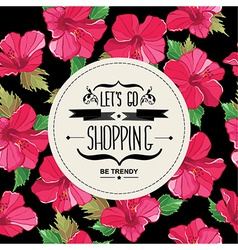 Poster lets go shoppingtypography vector