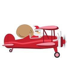 Santa ride plane vector