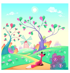 Romantic landscape with fox vector