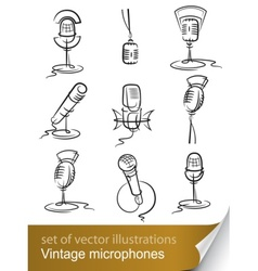 vintage microphones vector image