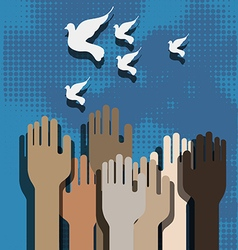 Hands and doves vector
