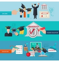 Higher education banner set vector