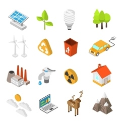 Ecology and environment protection icon set vector