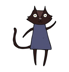 Cute comic cartoon black cat waving vector