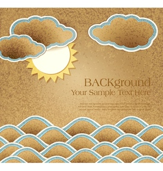 vintage background with sea clouds and sun on card vector image