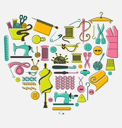 I love sewing and needlework set tailoring vector