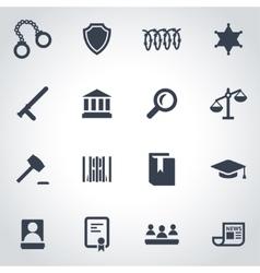 Black justice icon set vector