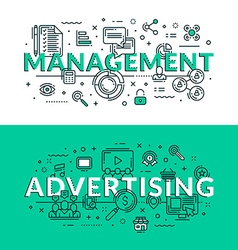 Management and advertising related icons colored vector