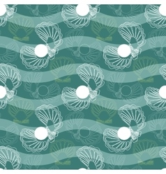Seamless pattern with waves and shells vector