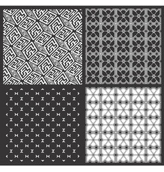 Monochrome geometrical patterns set vector image