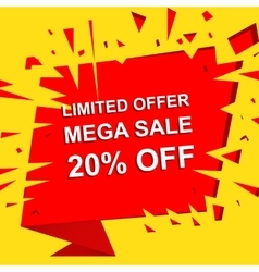 Big sale poster with limited offer mega sale 20 vector