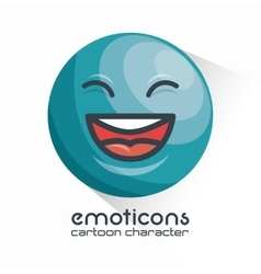Blue emoticon laughing closed eyes icon vector