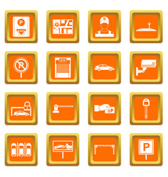 Car parking icons set orange vector