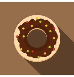 Chocolate donut icon flat style vector image vector image