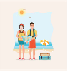 Couple of tourist together on a trip world travel vector