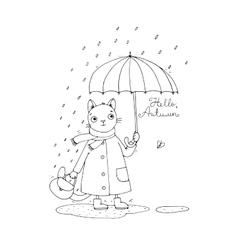 Cute cartoon cat umbrella rain and puddles vector